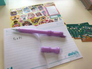 シールとメモ帳とリコーダー型ペン
