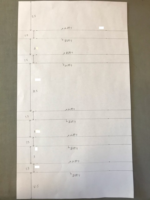布の折り方と間隔